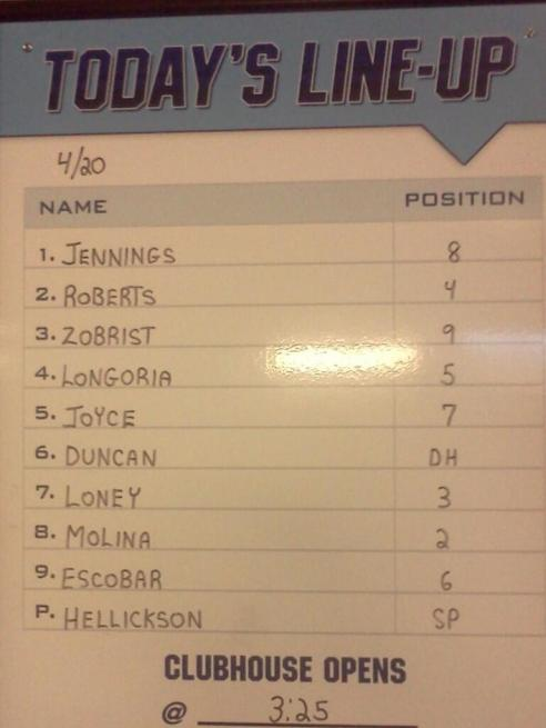 Rays 4/20/13 starting lineup,(Courtesy of the Tampa Bay Rays)