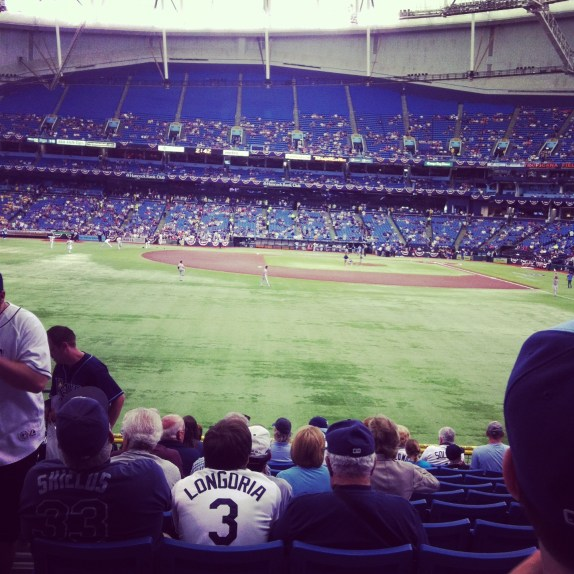 The Trop as seen from the left field seats prior to the ceremonial first pitch on Opening Day (Photo courtesy of X-Rays Spex)