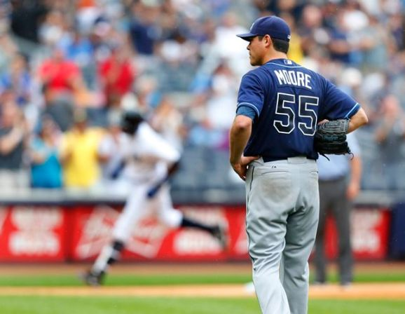 Matt Moore watches Alfonso Soriano round the bases following a inning two run homer. (Photo courtesy of Getty Images)