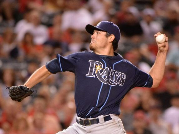 Matt Moore pitches against the Los Angeles Angels during the sixth inning. (Photo by Harry How/Getty Images)