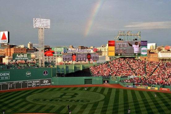 Sunny skies and a rainbow, everything came up Boston Friday. (Photo courtesy of the Tampa Bay Rays)