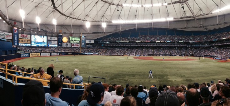 A panoramic shot of the Trop while Evan Longoria picked up the Rays second walk of the day, in the third inning.