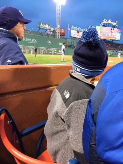 Joe Maddon saw young Red Sox fan who was really cold, and gave him new Rays hat to stay warm. (Photo courtesy of @JustinSome)