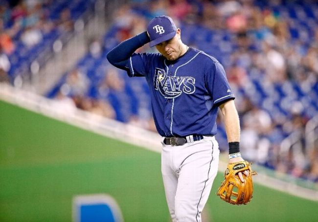 Yes Evan Longoria, we all feel that way right about now. (Photo courtesy of Rob Foldy/Getty Images)