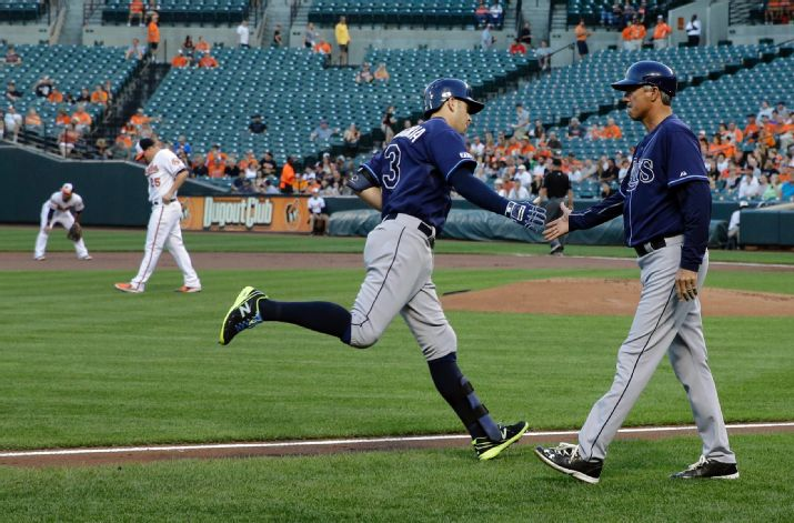 Evan Longoria rounds the bases after hitting a solo home run in the first inning against the Baltimore Orioles, Thursday. (Photo courtesy of AP Photo/Patrick Semansky)