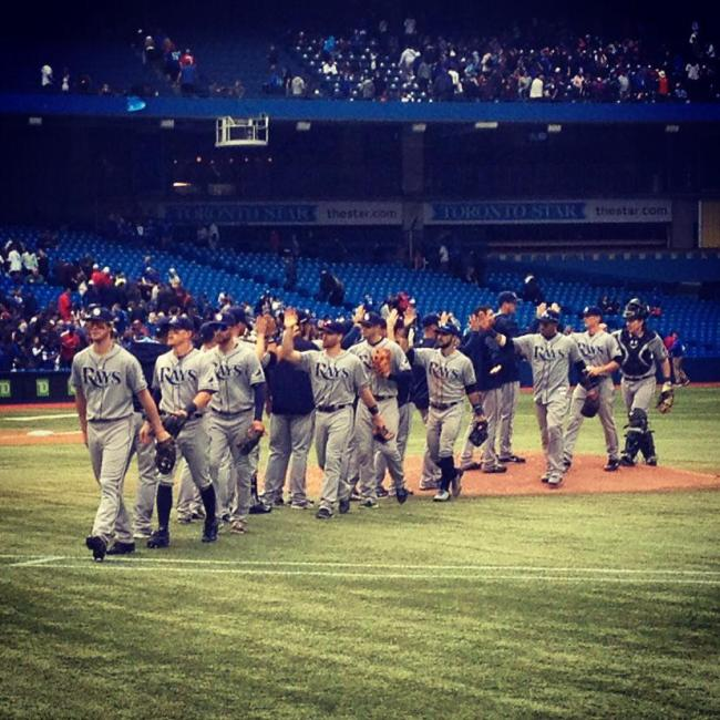 Post-game high fives in Toronto. (Photo courtesy of the Tampa Bay Rays)