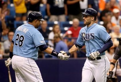 Kevin Kiermaier gets a handshake from teammate Jose Molina after crossing the plate following a solo home run during the sixth inning. Click the photo to be redirected to video of Kiermaier's solo shot.
