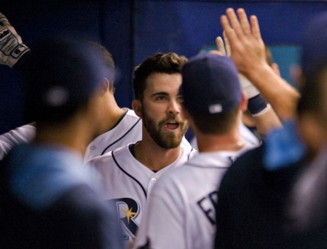 Rays teammates congratulate Nick Franklin in the dugout after his two-run homer during the second inning of a baseball game Saturday, Sept. 20, 2014. (Photo courtesy of AP Photo/Steve Nesius)