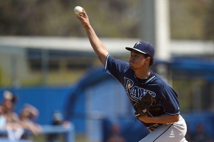 Chris Archer throws a pitch during the first inning of a spring training game against the Toronto Blue Jays on March 18, 2015 in Dunedin, Florida. (Photo courtesy of Stacy Revere/Getty Images)