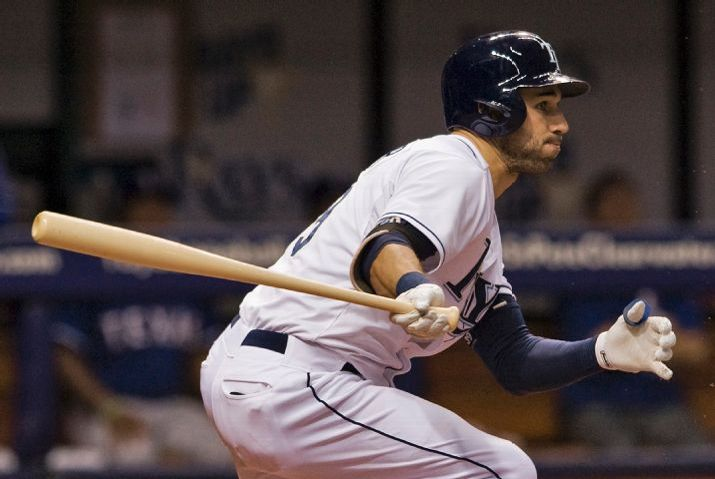 Kevin Kiermaier knocks in a run with a ground ball out to second base on May 7, 2015. (Photo credit: AP Photo/Steve Nesius)