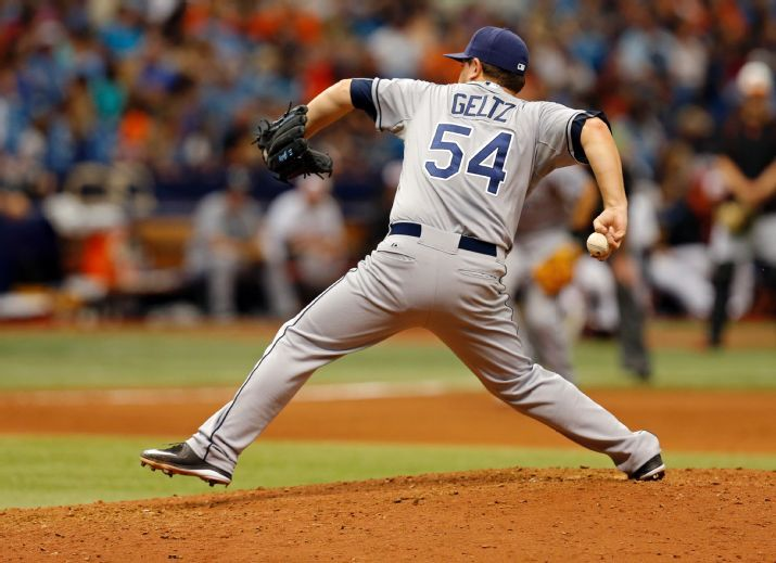 Steven Geltz throws during the seventh inning against the Baltimore Orioles on Sunday. (Photo Credit: AP Photo)