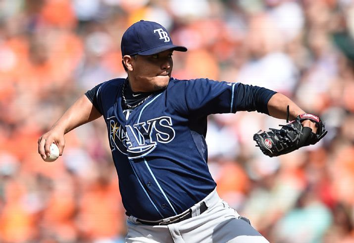 Erasmo Ramirez delivers against the Baltimore Orioles in the first inning on Saturday. (Photo credit: AP Photo/Gail Burton)