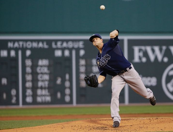 Drew Smyly delivers to the Boston Red Sox during the first inning on May 5, 2015. (Photo credit: AP Photo/Elise Amendola)