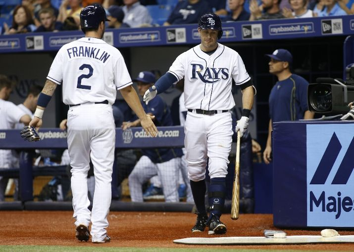 Nick Franklin with Evan Longoria after scoring off of an RBI single by Brandon Guyer during the third inning. (Photo Credit: Brian Blanco/Getty Images)