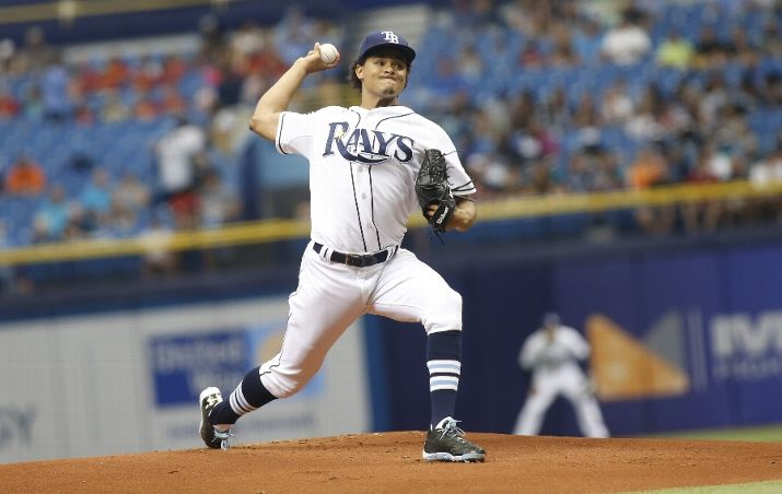 Chris Archer pitches during the first inning of a game against the Detroit Tigers on July 29, 2015. (Photo Credit: Brian Blanco/Getty Images)