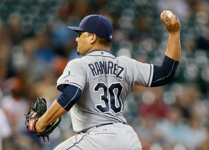Erasmo Ramirez throws in the first inning against the Houston Astros on August 17, 2015. (Photo Credit: Bob Levey/Getty Images)