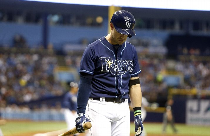 Evan Longoria walks back to the dugout after striking out swinging with the bases loaded to end the third inning. (Photo Credit: Brian Blanco/Getty Images)