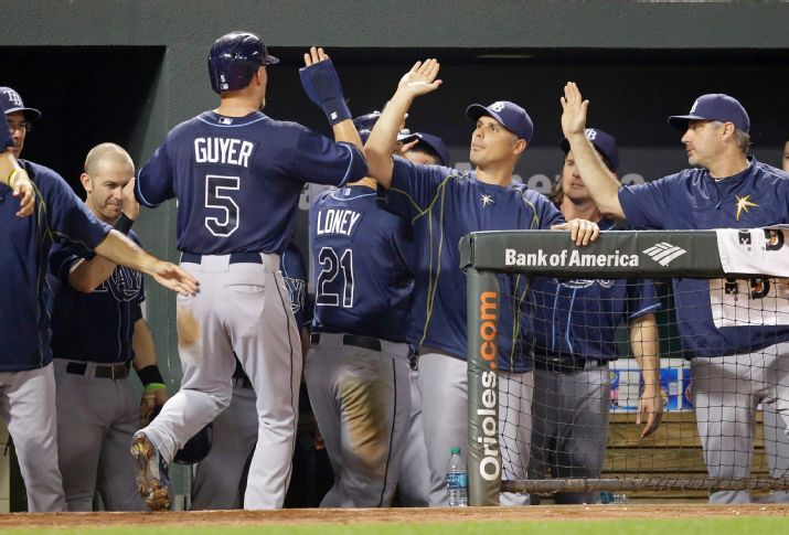 Brandon Guyer and James Loney high-five teammates and coaches in the dugout after scoring on a single by J.P. Arencibia in the fifth inning. (Photo Credit: AP Photo/Patrick Semansky)