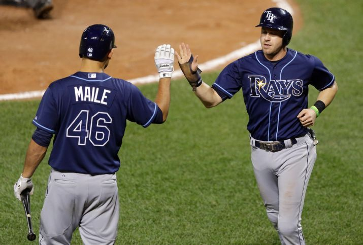 Evan Longoria high-fives teammate Luke Maile after scoring on a groundout by Asdrubal Cabrera in the eighth inning of a baseball game against the Baltimore Orioles on Tuesday. (Photo Credit: AP Photo/Patrick Semansky)