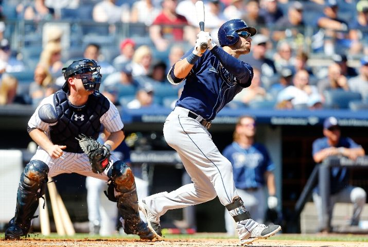 Kevin Kiermaier follows through on a second inning two-run home run against the New York Yankees at Yankee Stadium on September 6, 2015. (Photo Credit: Jim McIsaac/Getty Images)