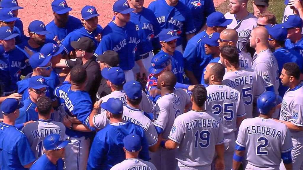 The benches cleared the last time the Royals and Blue Jays met in the regular season. (Photo Credit: MLB.com)