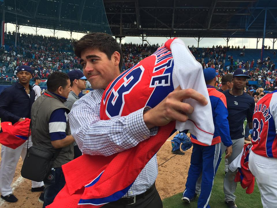 In the spirit of friendly competition, the Tampa Bay Rays and Cuban National Team swapped jerseys after the game. (Photo Credit: Tampa Bay Rays)