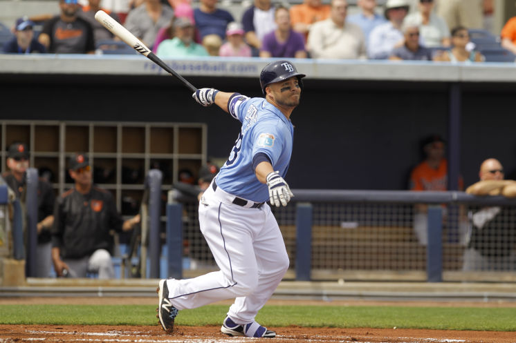 Steve Pearce bats against his former team, the Baltimore Orioles. (Photo Credit: Will Vragovic/Tampa Bay Times)