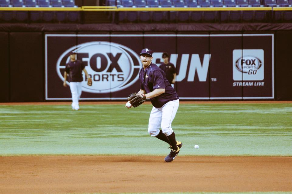Tampa Bay Rays shortstop Brad Miller works on fielding prior to Monday night's ball-game. (Photo Credit: Tampa Bay Rays)