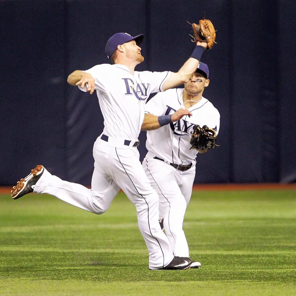 Just moments before Logan Forsythe and Kevin Kiermaier collided in shallow right field. (Photo Credit: Will Vragovic/Tampa Bay Times)