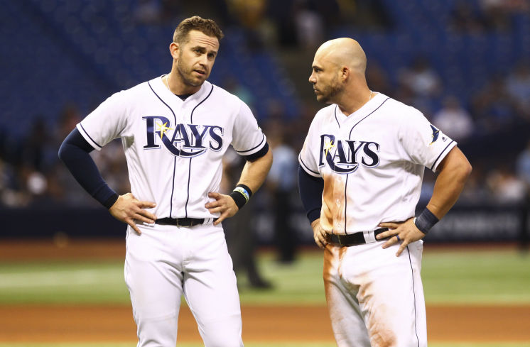 Tampa Bay Rays third baseman Evan Longoria (3) and Tampa Bay Rays first baseman Steve Pearce (28) after the fifth inning of the game between the Tampa Bay Rays and the Oakland Athletics in Tropicana Field in St. Petersburg, Fla. on Friday, May 13, 2016. (Photo Credit: Will Vragovic/Tampa Bay Times)