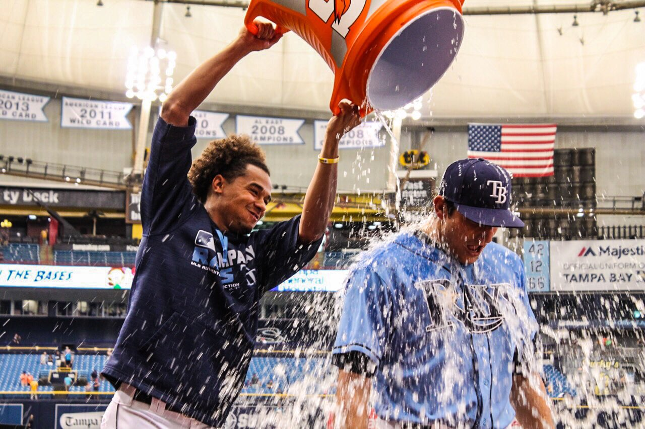 Mikie Mahtook hit a pivotal two-RBI single in the series finale with the Houston Astros on Sunday. (Photo Credit: Tampa Bay Rays)