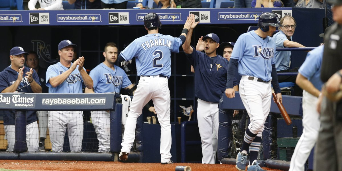 Nick Franklin went from first to home on a Curt Casali double for the Rays only run Sunday afternoon. (Photo Credit: Tampa Bay Rays)
