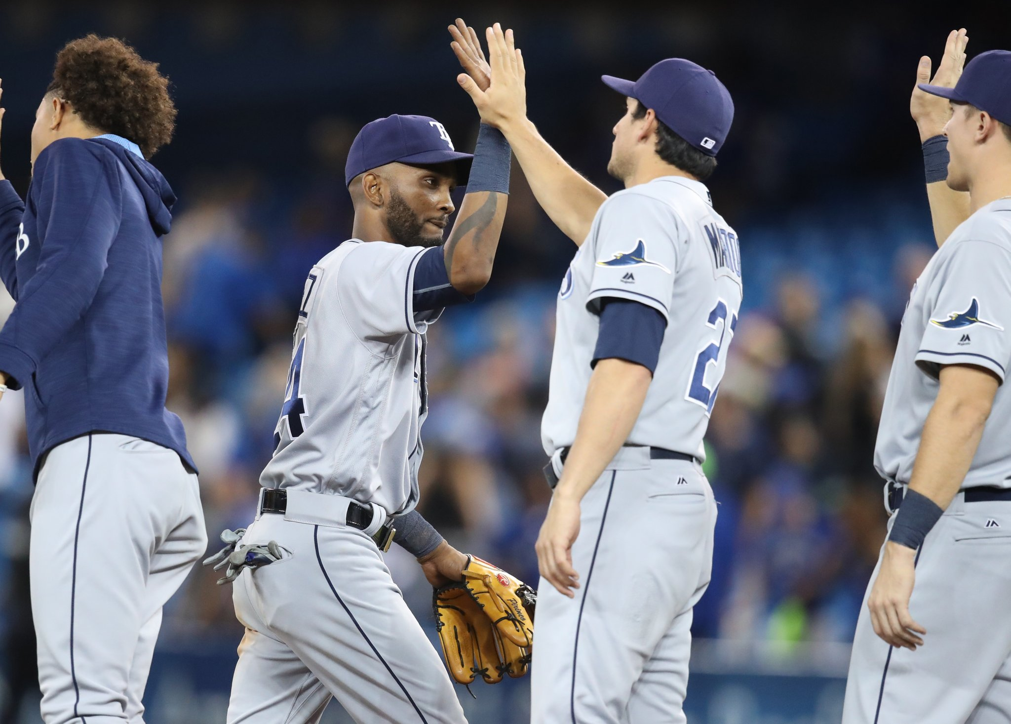 The Tampa Bay Rays plated 16 runs over the course of three games against the Toronto Blue Jays (an average of 5.33 runs per game). (Photo Credit: Tampa Bay Rays)