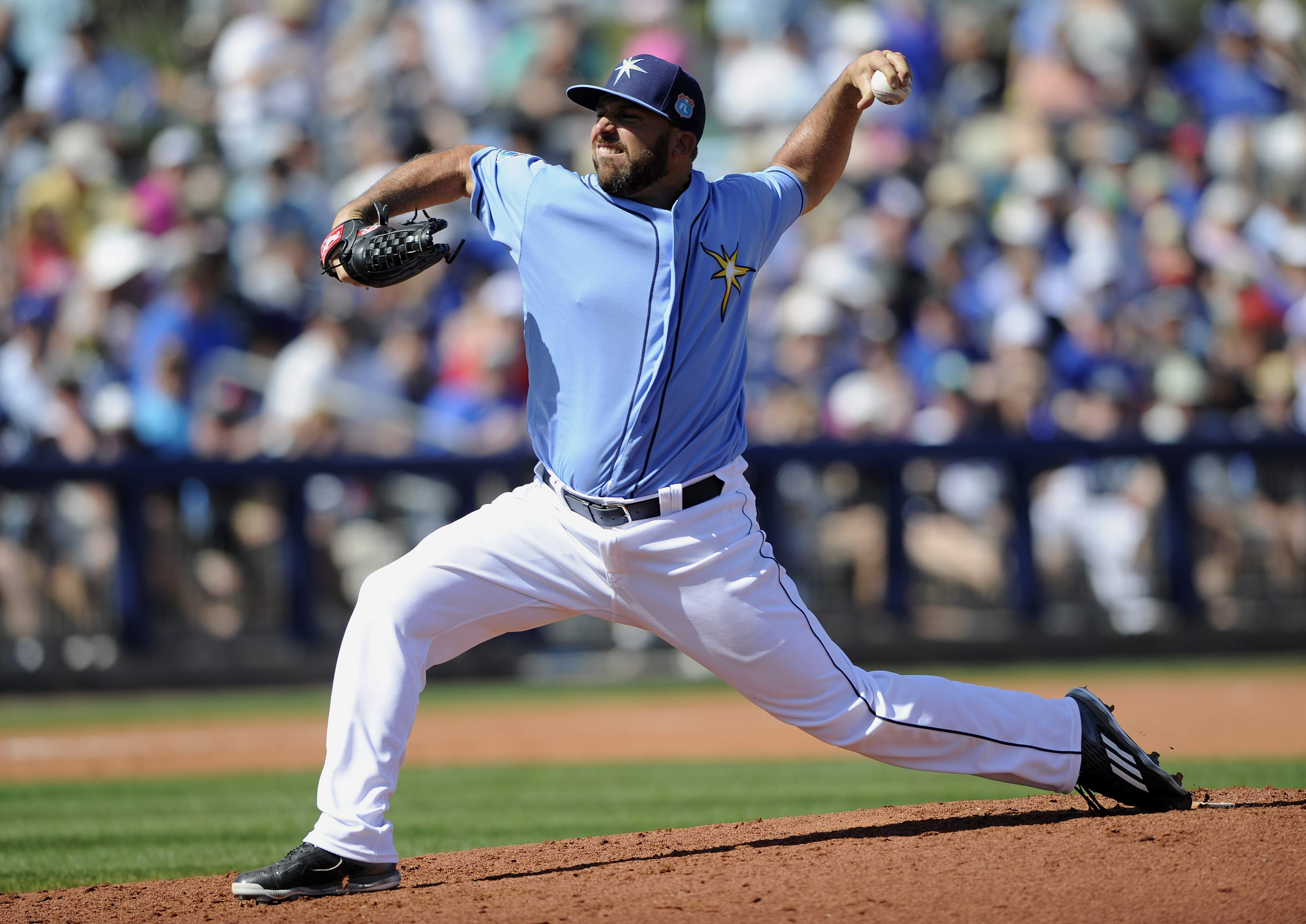 Dana Eveland pitching for the Rays in Spring Training 2016. (Photo Credit: TBO.com)
