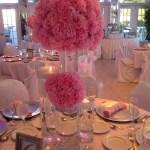 Silk pink carnations centerpieces