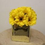 Small yellow Gerber daisy centerpiece