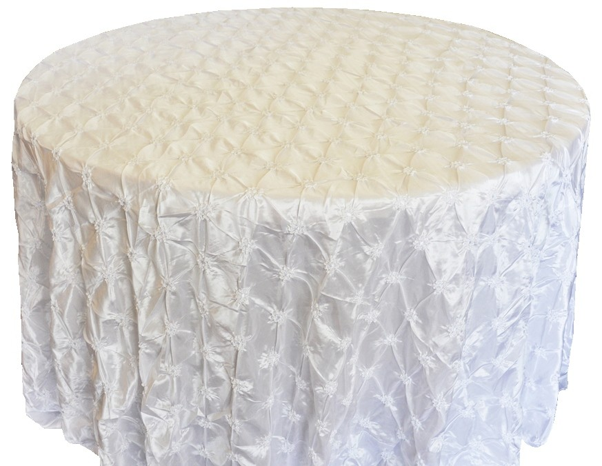 Pinchwheel Taffeta Tablecloth Rentals white