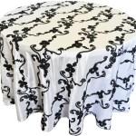 Ribbon taffeta tablecloths rentals-White/Black