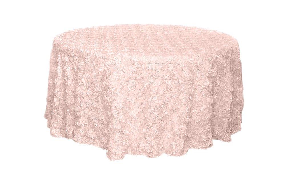 Rosette satin tablecloths rentals - blush