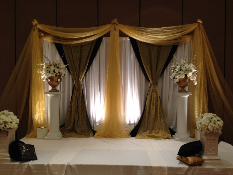 Gold white and black stage