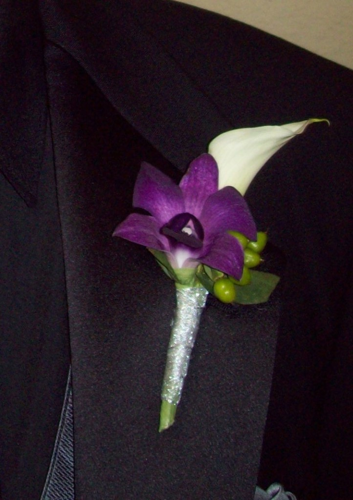 white calla purple orchid