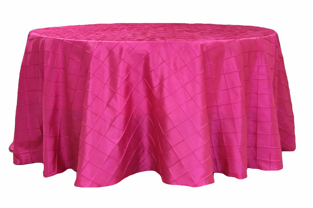 Pintuck tablecloths rentals- fuchsia