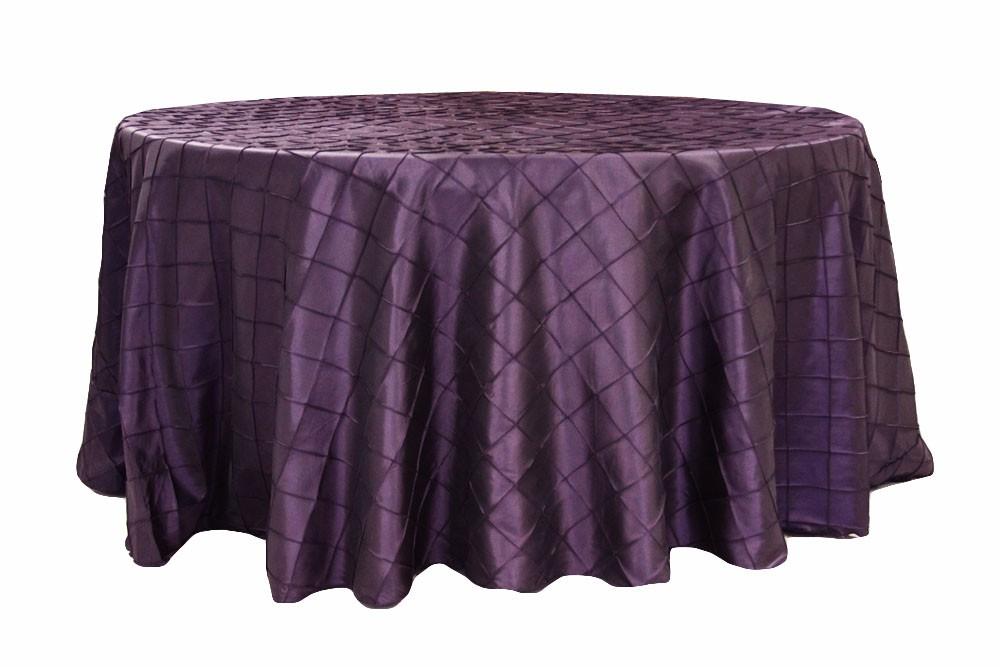 Pintuck tablecloths rentals-Plum