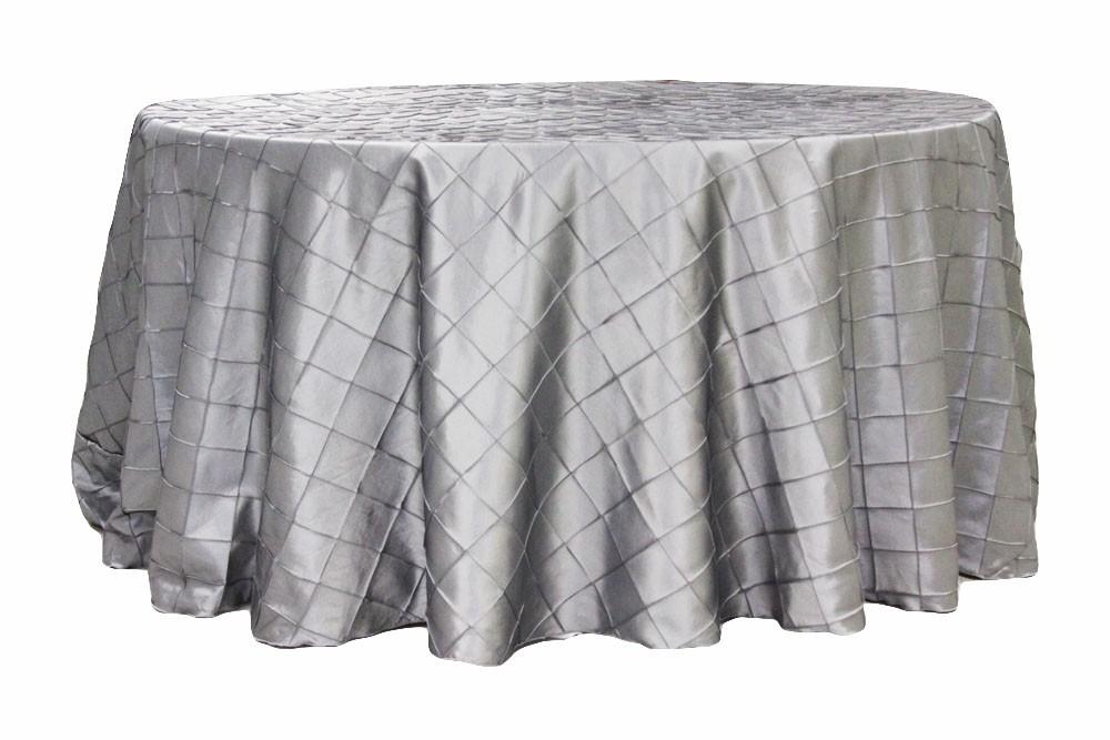 Pintuck tablecloths rentals-Silver