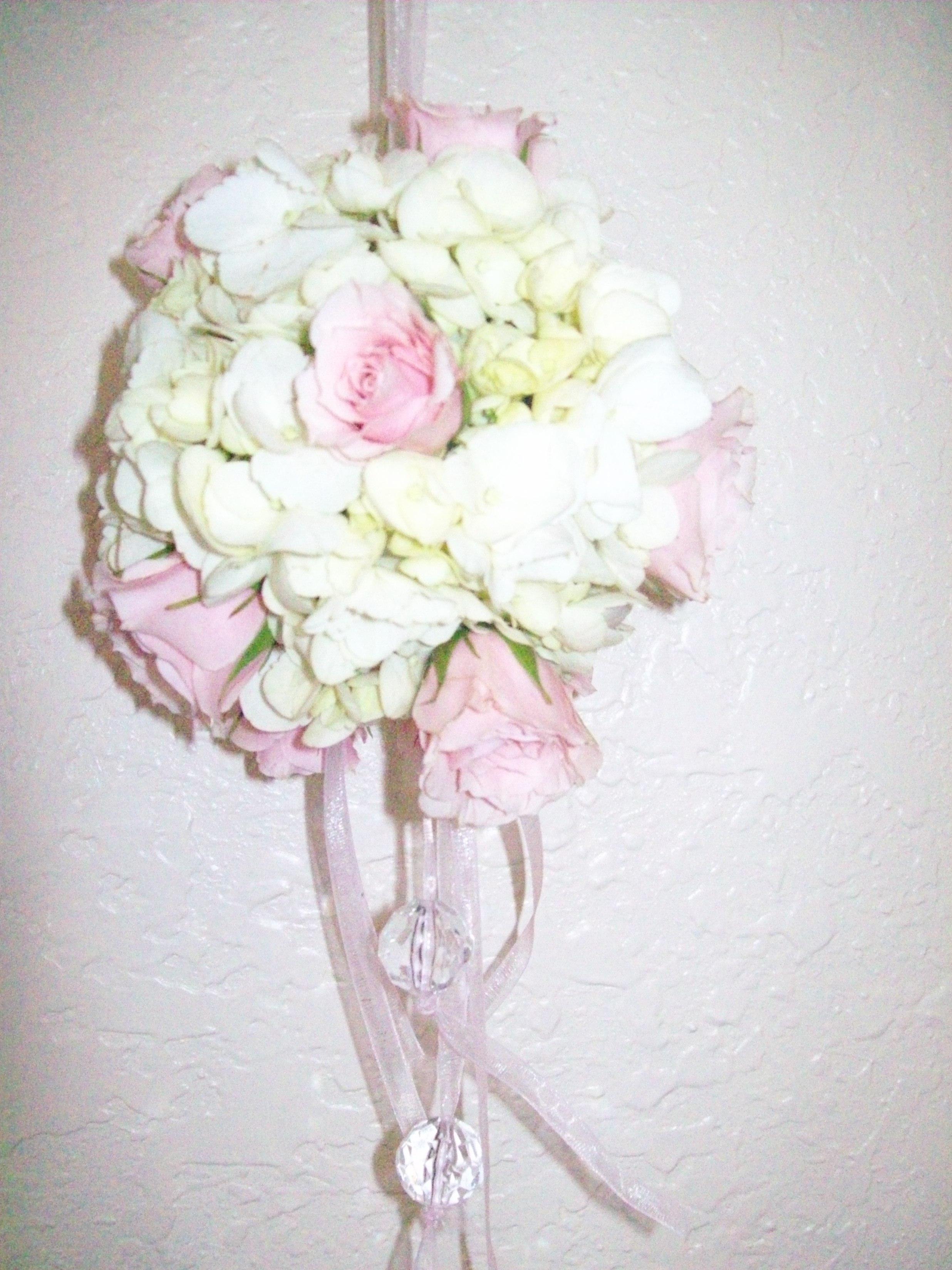 hydrangeas and Pink roses Pomander Ball