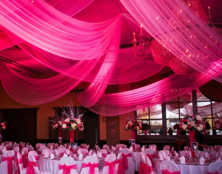 white and pink Quince reception