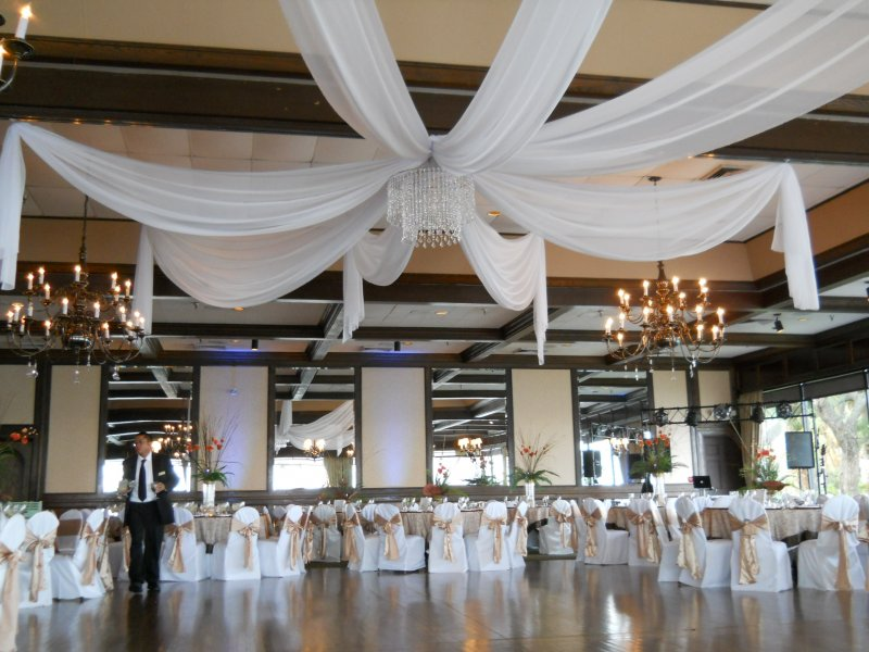 White ceiling drape at Rusty Pelican