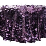 Plum Champagne Petal Circle Taffeta tablecloths Rentals