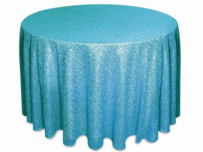 Glitz sequins tablecloths rentals Turquoise