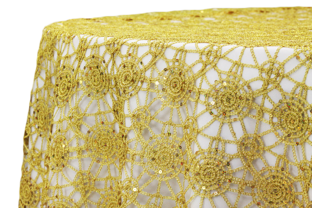 Chemical Lace tablecloths rentals Gold